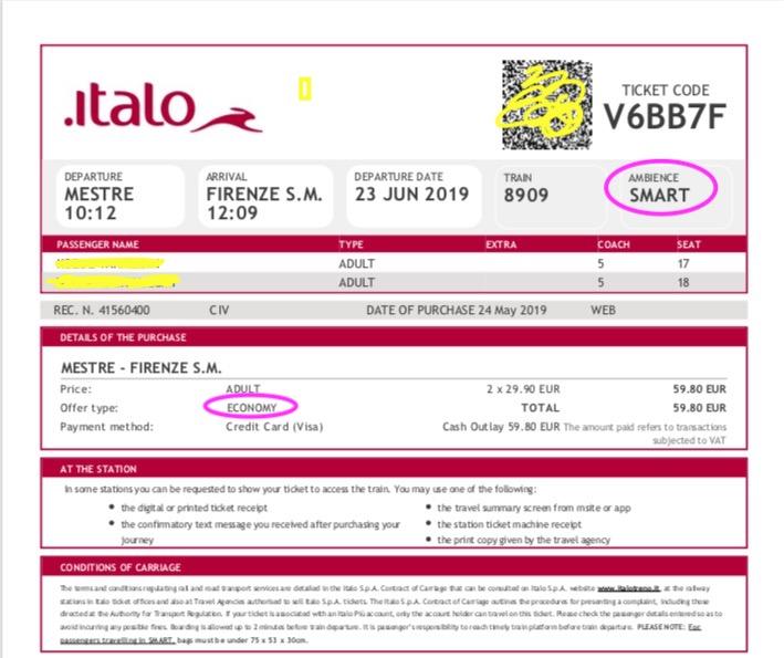 Italo予約チケット