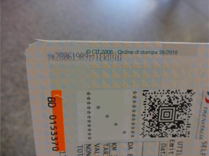 Trenialia レオナルド・エクスプレスのチケット打刻