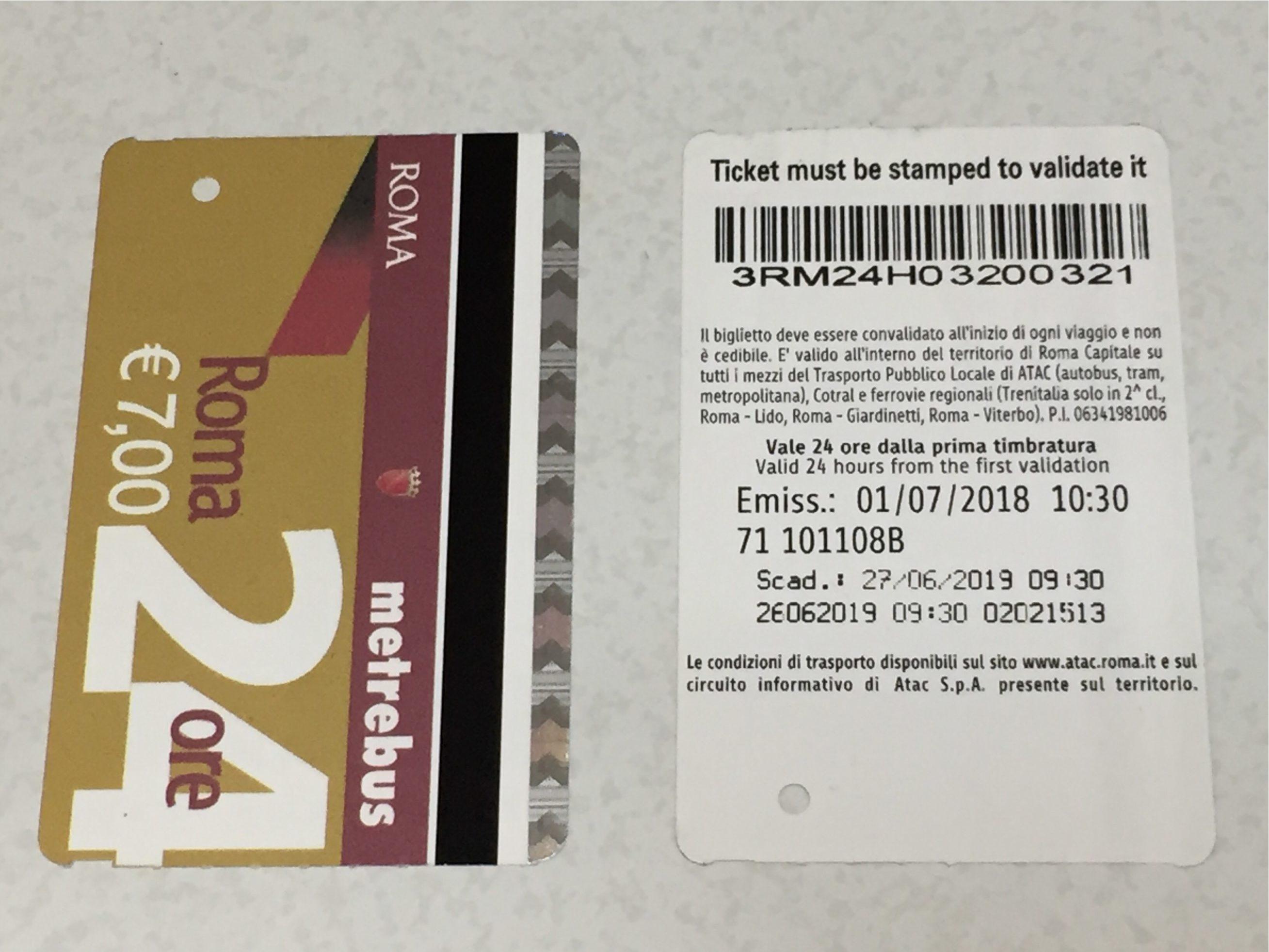 ローマ地下鉄24時間チケット