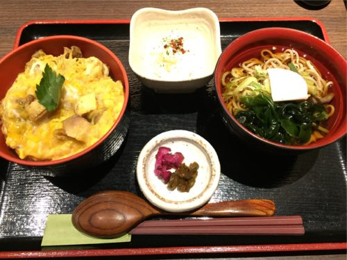 仙台ランチ きらく 究極の親子丼と旬そばセット
